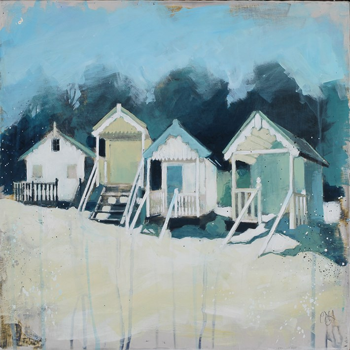 Four Huts with Pine Trees by camilla dowse -  sized 16x16 inches. Available from Whitewall Galleries